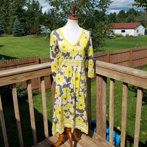 Boden Yellow & Grey Floral Dress